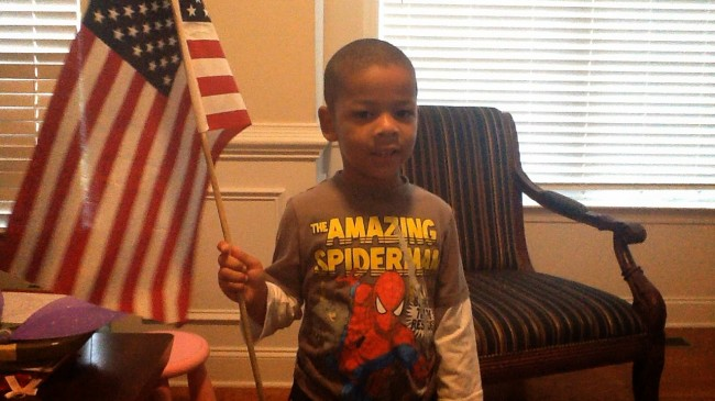 My 4 year old learns super heroes are patriotic.