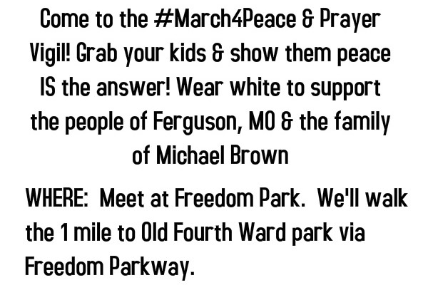 #March4Peace & Prayer Vigil THIS Saturday in Atlanta