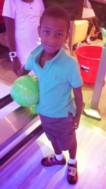 Bryce bowling at Main Event