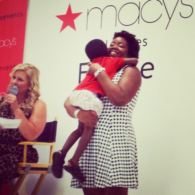 Joyce Brewer from MommyTalkShow.com was both model & mom in an unscripted moment during the show.