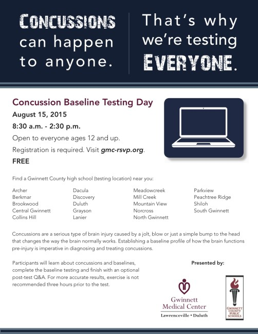 Gwinnett Medical Center is hosting a Concussion Baseline Testing Day August 15, 2015.