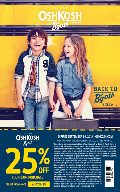 Oshkosh B'gosh Blogger coupon for 25% off purchase.