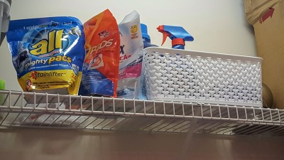 Keep your baby safe by storing liquid laundry packets on a high shelf.