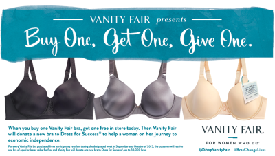 Vanity Fair is launching a buy one, get one, give one event to benefit Dress for Success.