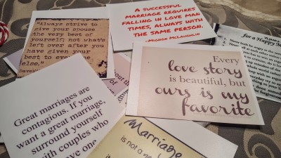 I printed out marriage quotes on the sticky backed paper and encouraged guests to stick them up around the house.
