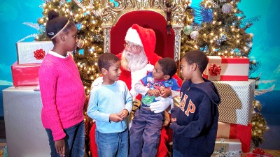 The Smith kids visited with Santa this year.