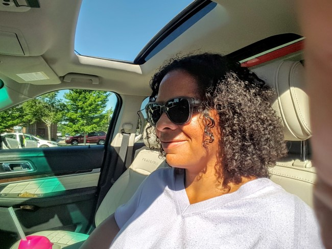 Maria Smith enjoyed the moon roof in the Ford Explorer, especially with the Sony sound system turned up.