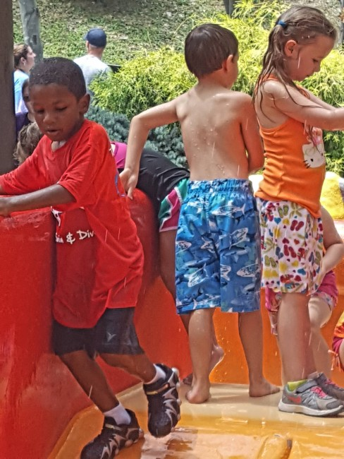 The Stride Rite Leapz even came in handy at a water play area.
