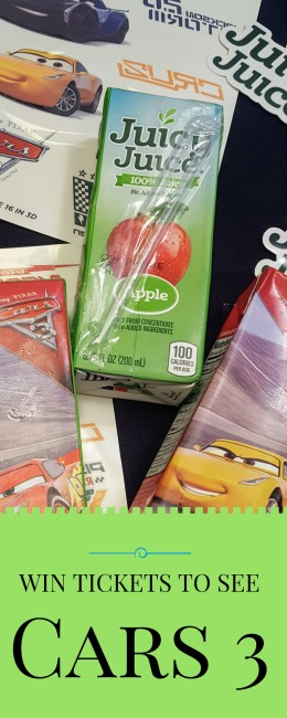 Enter the Juicy Juice CARS 3 sweepstakes for a chance to win tickets and other prizes. This is one of the best CARS 3 activities!