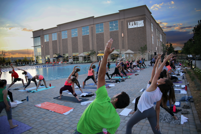 Check out the Solstice Bliss yoga event at Life Time Athletic to try yoga in a beautiful atmosphere.