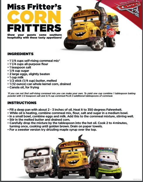 Make some delicious corn fritters for one of the fun indoor Cars 3 activities.