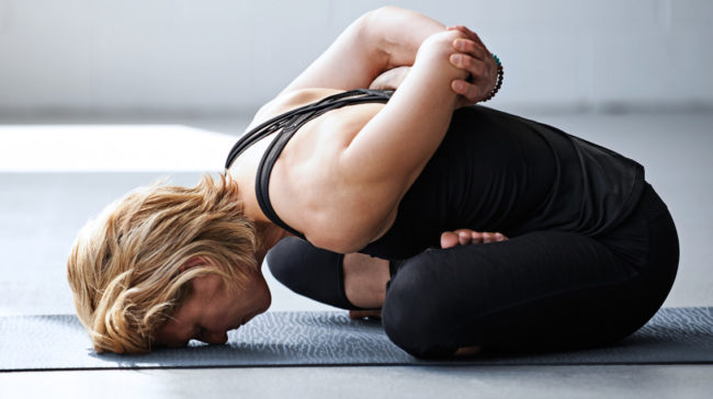 Experience long connective tissue stretches and meditative breathing for greater breathing and self-acceptance in this yoga routine.
