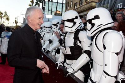 """Actor Anthony Daniels (L) attends the World Premiere of """"Star Wars: The Force Awakens"""" at the Dolby, El Capitan, and TCL Theatres on December 14, 2015 in Hollywood, California."""