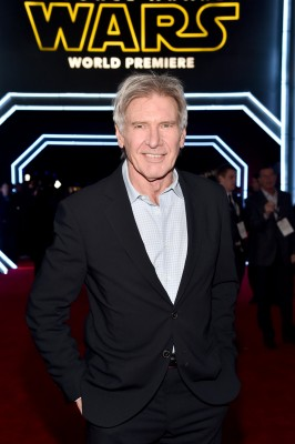 """Actor Harrison Ford attends the World Premiere of """"Star Wars: The Force Awakens"""" at the Dolby, El Capitan, and TCL Theatres on December 14, 2015 in Hollywood, California."""