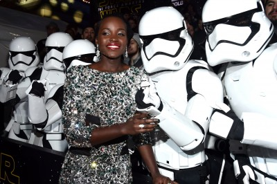 """Actress Lupita Nyong'o attends the World Premiere of """"Star Wars: The Force Awakens"""" at the Dolby, El Capitan, and TCL Theatres on December 14, 2015 in Hollywood, California."""