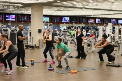 A workout is in session at Life Time Fitness.