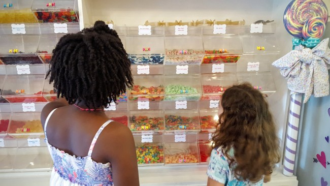 The candy wall is a big hit at Lollibop Sweet Shop.