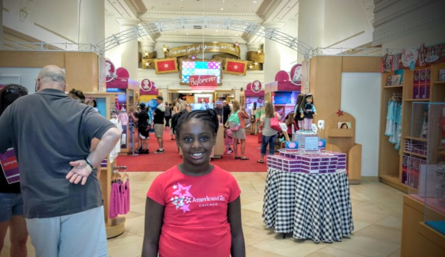 My daughter at the American Girl store in Chicago.