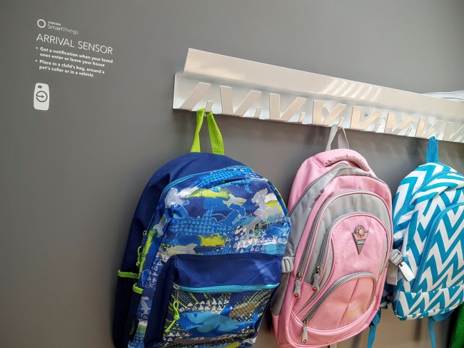 The Samsung Arrival Sensor can be attached to a backpack so you can easily tell when your kids enter or leave the house.
