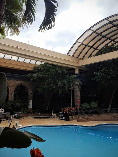 The retractable roof over the pool at the Sheraton Atlanta is one of the coolest features of any downtown hotels.