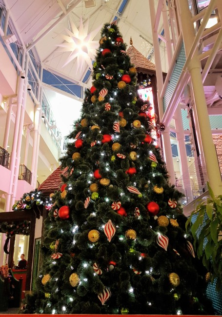 The decorations at the Adventure to Santa include a towering Christmas tree.