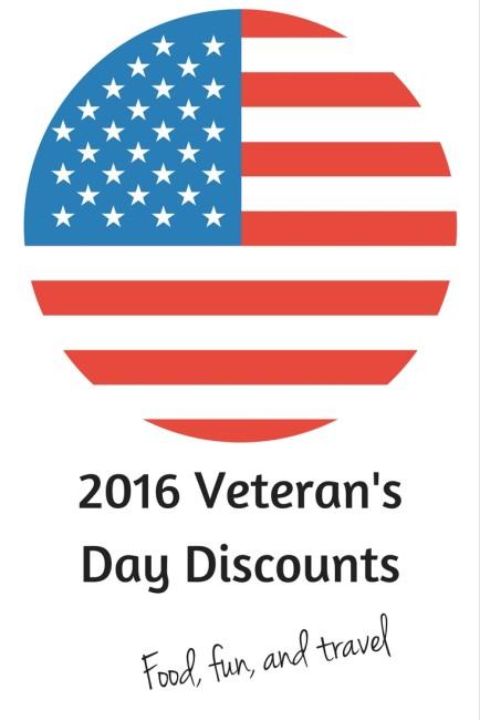 2016 Veteran's Day discounts.