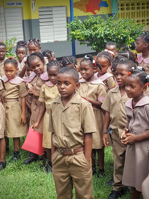 These first graders are being helped by the Sandals Foundation in Jamaica.