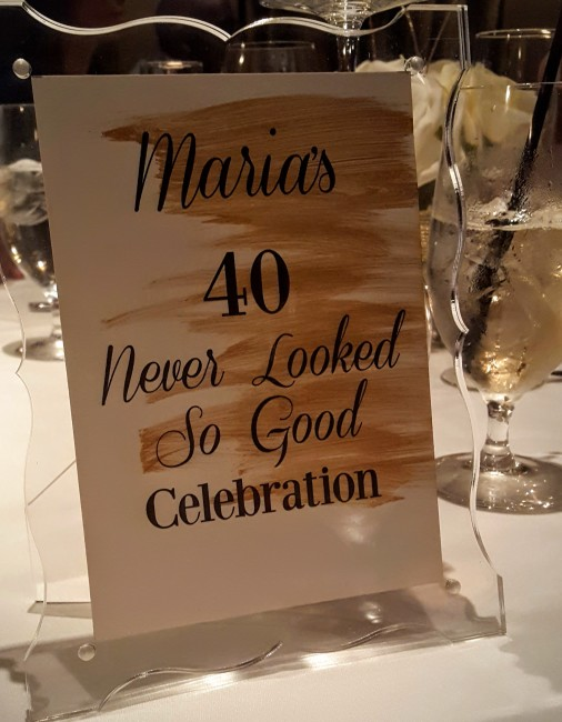 Maria's husband helped her celebrate her 40th birthday with an elegant dinner party.