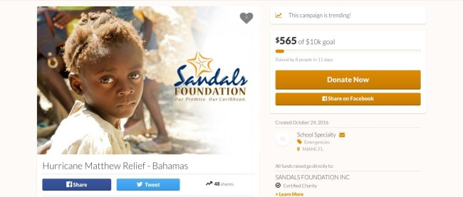 Please donate to the Sandals Foundation to help the hurricane victims in Haiti and the Bahamas.
