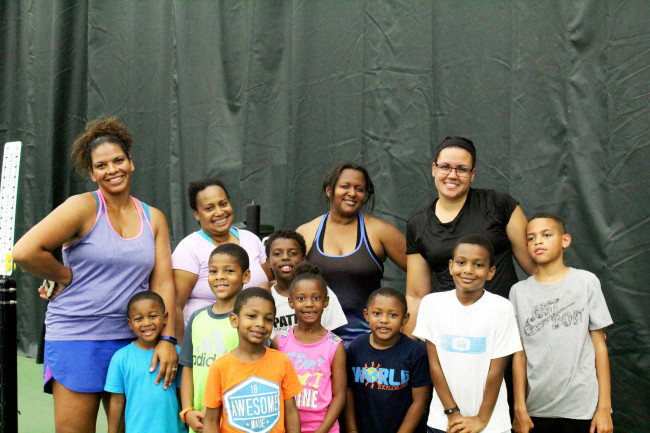 Both the moms and the kids got a great workout and have fun getting a taste of the summer tennis camp at Life Time Fitness.