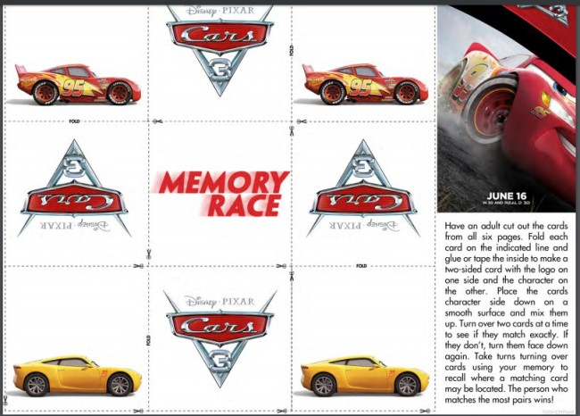 Test out for cognitive skills with this CARS 3 memory game.