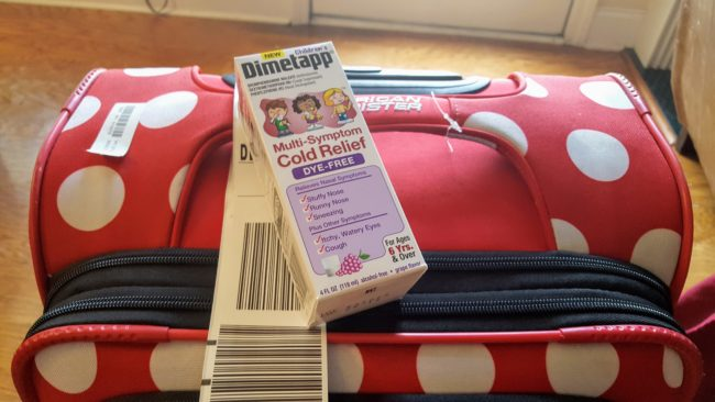 Children's Dimetapp® Multi-Symptom Cold Relief Dye-Free eases your child's stuffy and runny nose, while quieting a bothersome cough. All good things when traveling with sick kids.