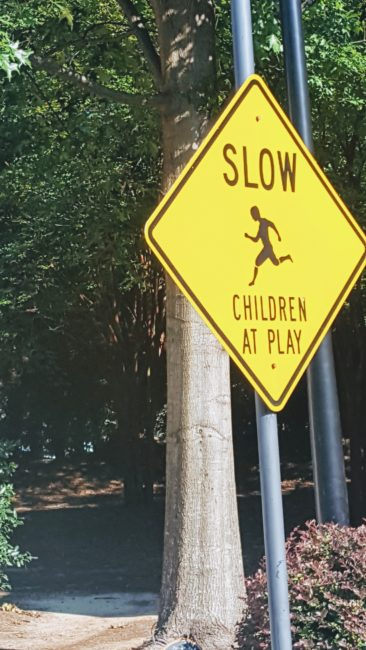 Women who want to be moms look at this sign in a very different way. SLOW Children at Play is almost a taunt.