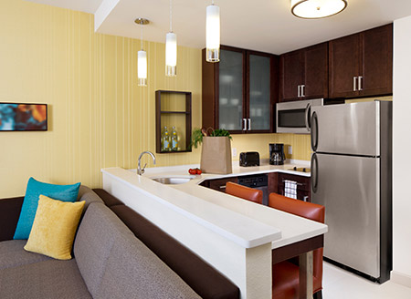 The kitchenette in the Residence Inn hotels can save you tons of money.