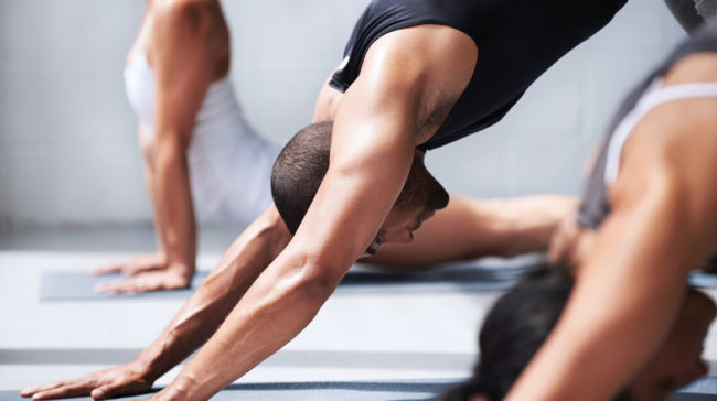 Dynamic and challenging vinyasa that synchronizes breath and builds strength through continuous movement.
