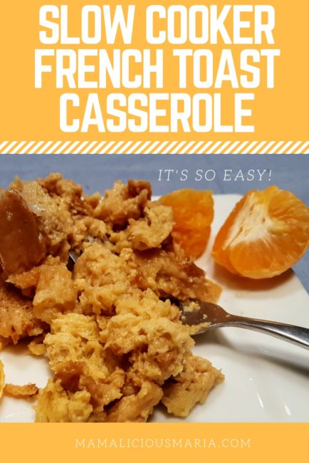 This is the best dinner for breakfast recipe ever. Easy slow cooker french toast casserole!