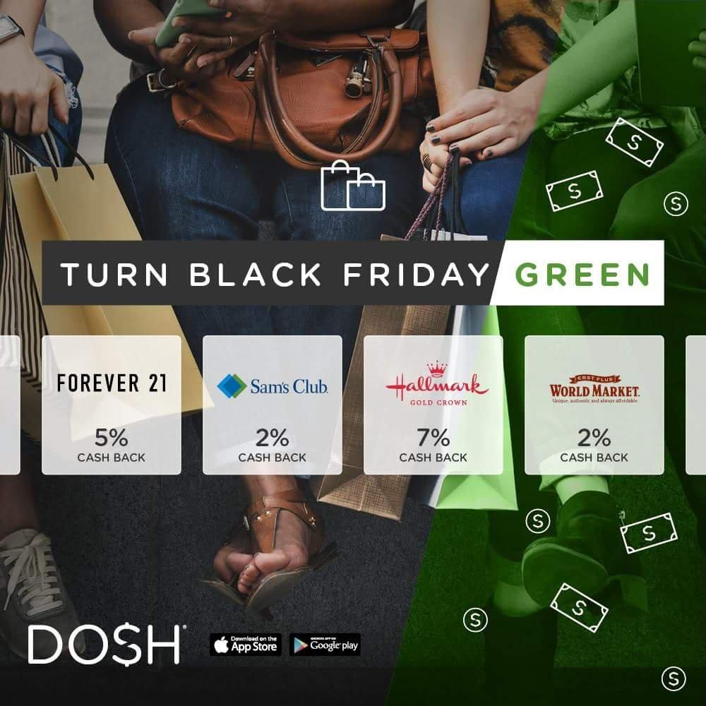Use the Dosh cash back app to get Black Friday deals and money back.