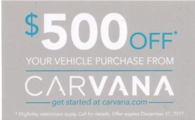 This Carvana coupon will save you an extra $500 off your vehicle purchase.
