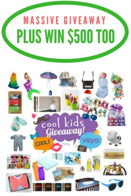 Check out this massive holiday giveaway which includes 28 different cool kids' brands products. Plus one winner will also win $500 too!